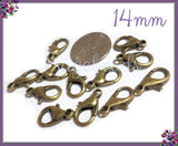 20 Antiqued Brass Lobster Clasps, Bronze Lobster Clasps, 14mm Lobster Clasps