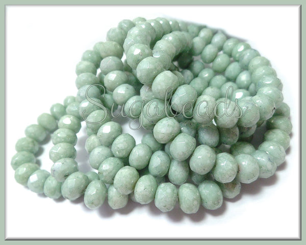 25 Czech Glass SeaFoam Green Rondelles, Opaque Luster, Firepolished Rondelles 7mm x 5mm, CZN84
