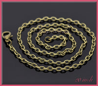 12 Pack Textured Antiqued Brass Necklace Chains, Finished Necklaces 20 inches, Bronze Chains, CBT7