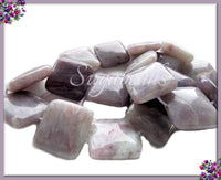 4 Square Lilac Purple Jasper Beads, Jasper Gemstone Beads 20mm, SBGB21