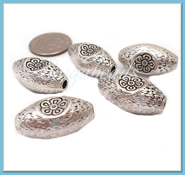 6 Etched Flower Barrel Beads, Antiqued Silver Oval Beads with Flower, PS248
