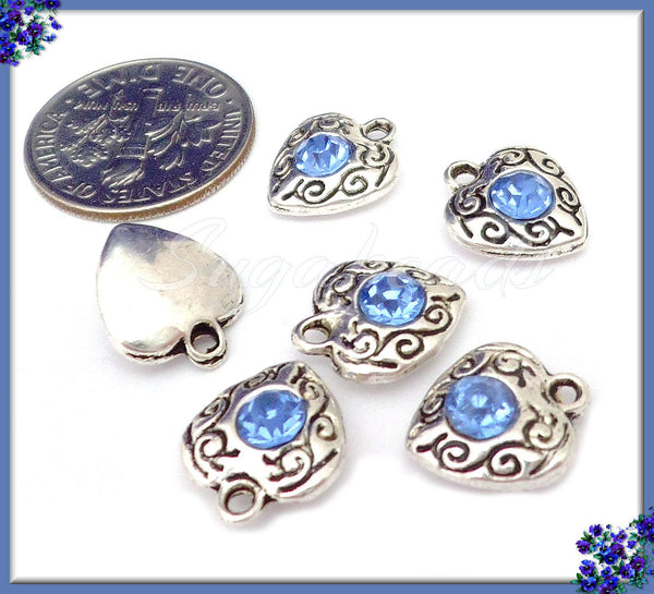 10 Light Blue Rhinestone Hearts, Antiqued Silver Heart Charms, Crystal Heart Charms PS240 - sugabeads