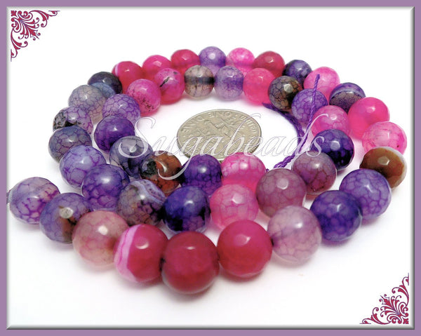 Faceted Dragon Vein Agate Beads, Mixed Banded Agate, 8mm Purple Faceted Agate, SBGB30