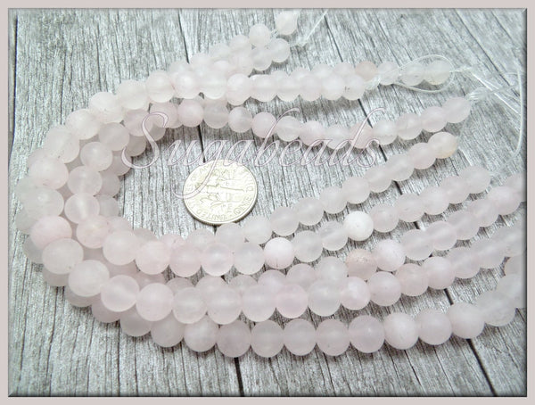 Matte Rose Quartz Beads, Frosted Pink Quartz 6mm, Quartz Gemstone Beads, SBGB45