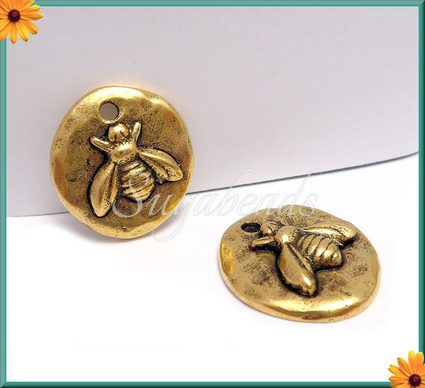2 Antique Gold Bee Charms, Round Bee Charms, Organic Charms, Hammered Bee Charms, NND1