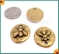 2 Antique Gold Bee Charms, Organic Charms, Hammered Bee Charms, NND1