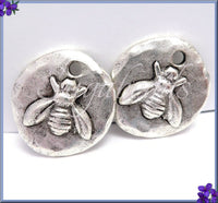2 Antique Silver Bee Charms, Round Bee Charms, Organic Bee Charms, Hammered Bee Charms, NND2