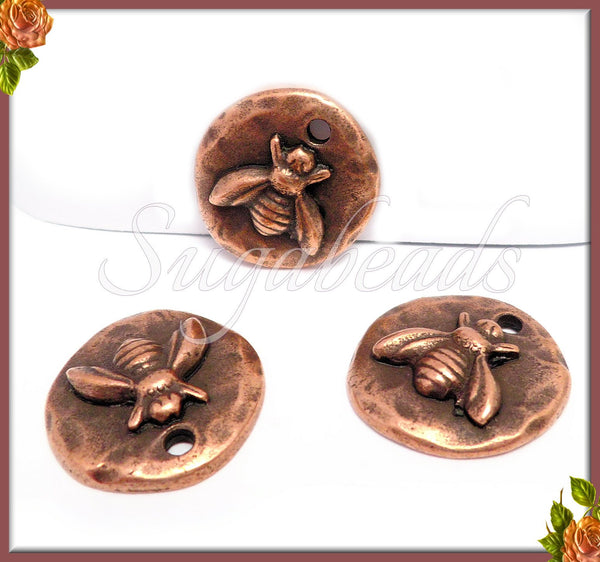 2 Copper Bee Charms, Round Organic Bee Charms, Hammered Bee Charms, NND3