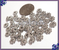 100 Silver Tone Daisy Spacers 5.5mm, Silver Daisy Spacers, Flower Spacers, DS19