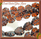 10 Dark Amber Maple Leaf Beads, Picasso Czech Glass, Brown Leaf Beads 10mm x 13mm
