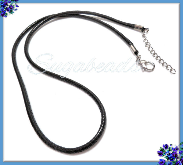 2x Black Cord Necklaces with Stainless Steel Clasp and Extender, Cord Necklaces