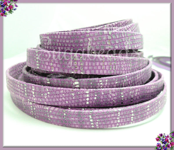 10mm Flat Leather - Purple Flat Leather - 10mm Metallic Silver Leather - 3.2ft Purple Flat Leather