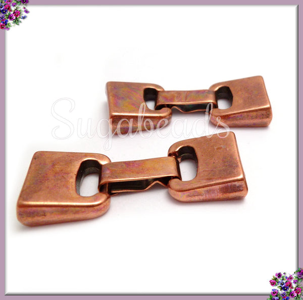 2 Antiqued Copper Fold Over Clasp, 10mm x 2mm Clasp for Leather