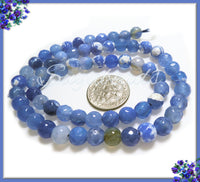1 Strand Blue Faceted Agate Beads, 6mm Faceted Gemstone Beads, SBGB7