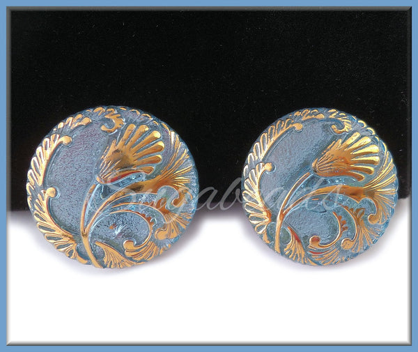 1 Pretty Blue and Gold Czech Glass Button 27mm, CZN90