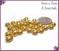 100 Bright Gold Metal Bicone Spacers, Metal Gold Spacers, 6mm Spacer Beads, - PS236