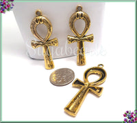 4 Decorated Gold Tone Egyptian Ankhs, Gold Ankh Pendants, 43mm Gold Ankhs, PS255