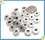 12 Handmade Greek Spacers, Ceramic Antiqued Silver Discs, Ceramic Spacer Beads 8mm, MK19