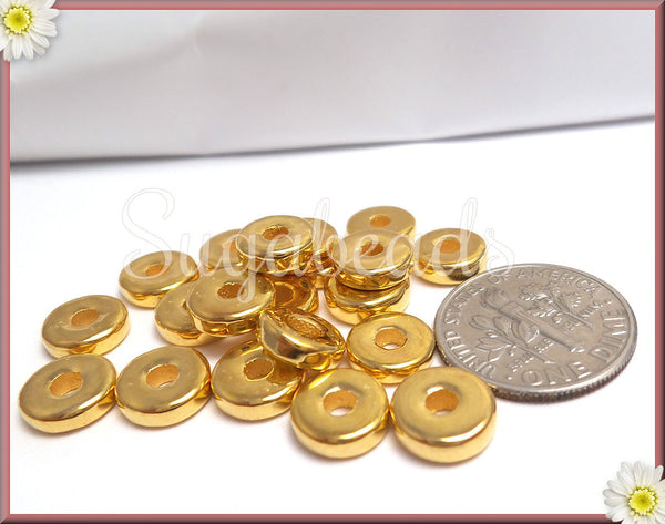 10 Handmade Greek Spacers, Ceramic Gold Discs, 24k Gold Plated Spacer Beads, 8mm Greek Spacers
