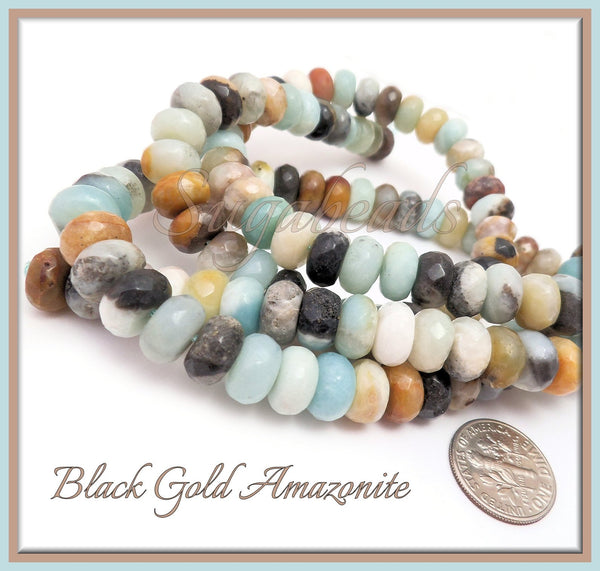30 Faceted Black Gold Amazonite Beads, 10mm Rondelle, Faceted Amazonite Gemstone Beads, SBGB6