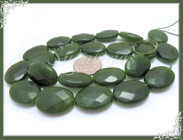Forest Green Faceted Jade Beads, Oval Faceted Gemstone Beads, 18mm x 13mm SBGB40