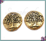 2 Antique Gold Tree Charms, Round Tree Charms, Organic Tree Charms, Hammered Tree Charms, NND5