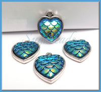 6 Silver Heart Charms, Blue Mermaid Scale Charms, Dragon Scale Charms, PS252