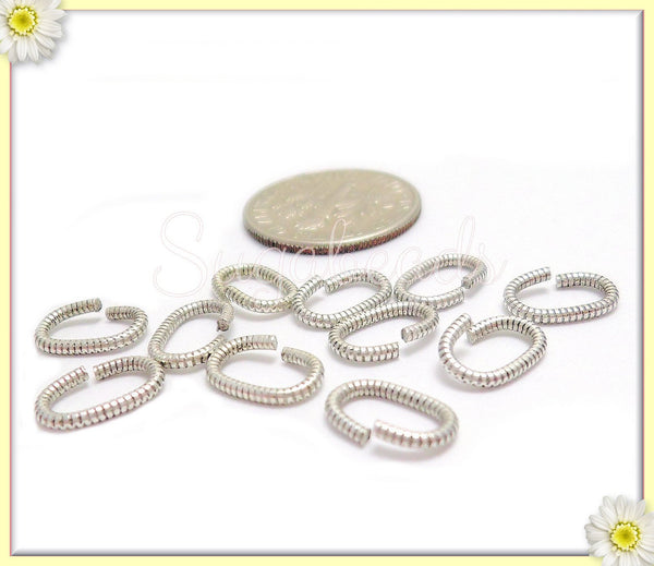 20 Sterling Silver Plated Oval Jump Rings, Textured Oval Jump Rings 9mm, Silver over Brass, JRSP8