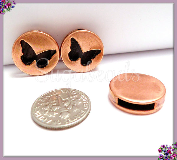 4 Copper Butterfly Slider 10mm, Flat Leather Slider, Sliders For Leather - sugabeads