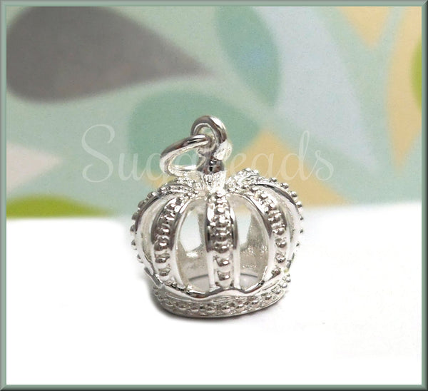 1 Bright Silver Plated Crown Charm, 3-D Crown Charm, Silver Crown, Silver over Bronze