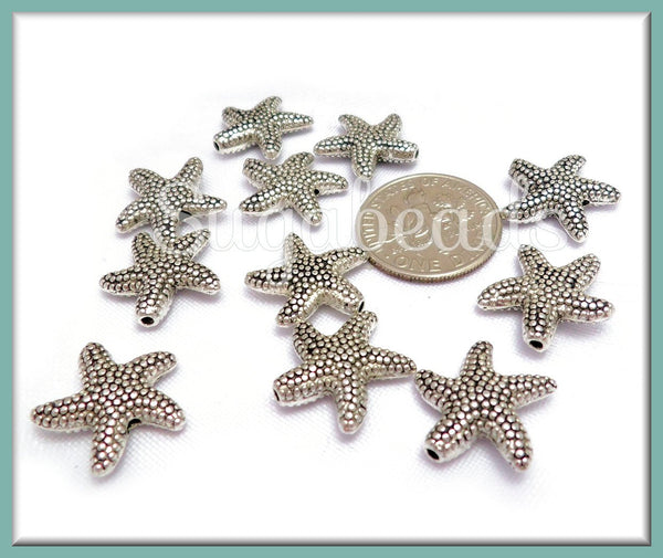10 Antiqued Silver Starfish Beads, 14mm Starfish Spacers, Beach Beads, PS265
