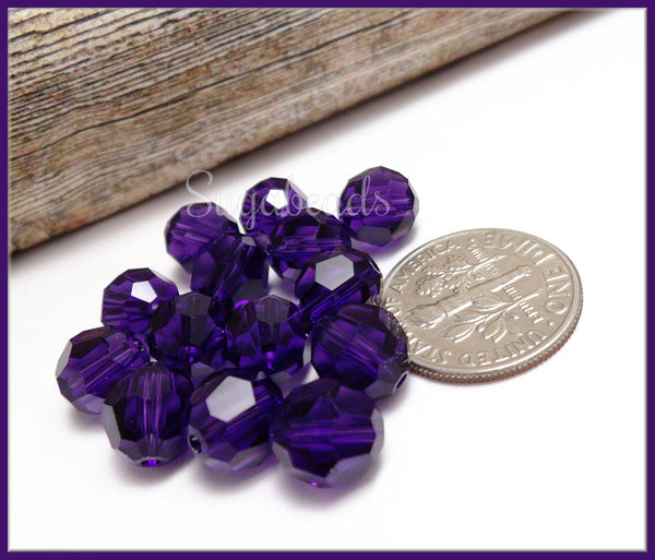 8 Purple Velvet Swarovski Beads, 8mm 5000 Series Purple Velvet Faceted Beads