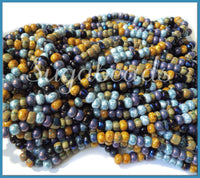4/0 Plum Blossom Seed Beads, Aged Striped Picasso Seed Beads, 10 inch Strand Seed Bead Mix, CZBB20
