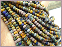 6/0 Aged Matte Seed Beads, Plum, Blue Mix, Aged Picasso Seed Beads, 20 Inch Strand, CZBB21