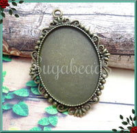 3 Antiqued Bronze Cabochon Setting, Fits 40mm x 30mm, Large Oval Setting, Lace Cab Setting