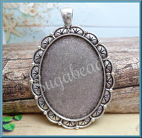 4 Antiqued Silver Cabochon Setting Fits 40mm x 30mm, Oval Setting, Scalloped Setting with Bail