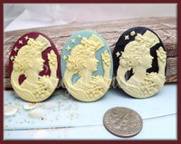 3 Mixed Lady Cameo, Resin Goddess Cameo, Resin Cabochon, Fits 30x40mm