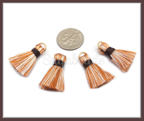5 Coral Tassels with Gold Jump Ring, Mini Tassels 22mm, Small Tassels, PS256