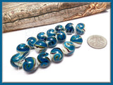 8 Lampwork Beads -Blue, Gold, White Sand Lampwork Beads 12mm, CZN102