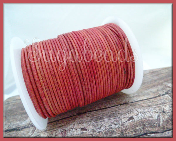 Antique Rose Leather Cord, Round Cord, 16 feet leather, 1.5mm thick cord, Dark Rose Pink Leather