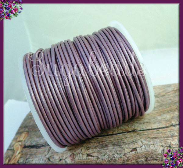 Purple Leather Cord, Round Cord, 16ft Leather Cord, 2mm thick, Violet Leather Cord