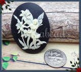 2x Fairy with Flowers Resin Cameo, Nymph Black Cameo, Flat Back Cameo Fits 30x40, Fae Cameo