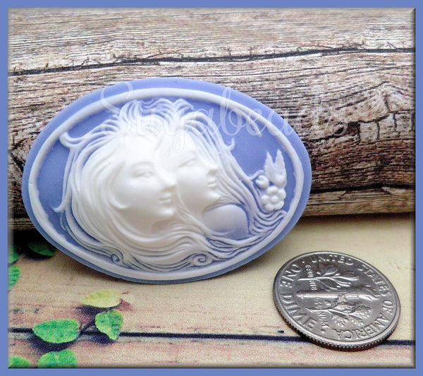 2 Sisters Resin Cameos, White on Blue Flat Back Cameo Fits 40x30mm, Ladies w Long hair Cameo