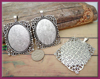 2 Antiqued Silver Cabochon Settings, Fits Oval 40mm x 30mm Square Cab Setting, Setting with Bail