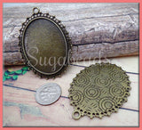 3 Antiqued Bronze Oval Cameo Setting, Fits 40mm x 30mm, Lace Cameo Setting, Filigree Setting