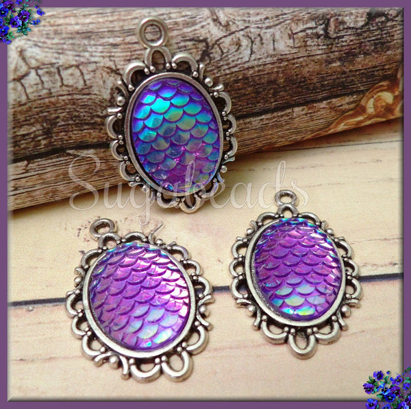 4 Silver Mermaid Scale Resin Charms, Purple Mermaid Scale Charms 31mm