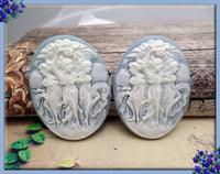 2x Three Muses Resin Cameo, Dancing Ladies on Blue Flat Back Cameo Fits 30x40mm