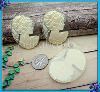 2x Classic Lady Resin Cameo, Cream on Matte Crystal Resin Cameo Fits 40x30mm, Transparent Cameo