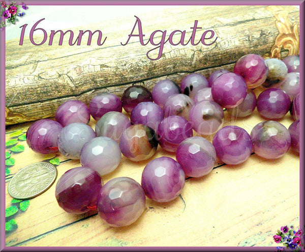 8 Faceted Agate Beads, Mixed Banded Agate, 16mm Orchid Pink Agate, Faceted Agate beads, SBGB62