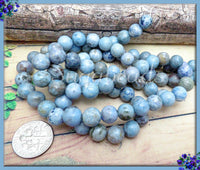 Light Blue Agate Beads, 8mm Crazy Lace Agate Gemstones, Sky Blue Agate, SBGB61